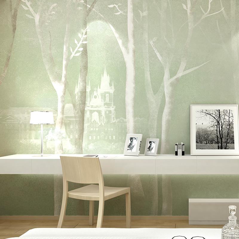 卡茵 定制个性壁纸 手绘现代简约北欧素雅背景墙装饰画 客厅电视墙