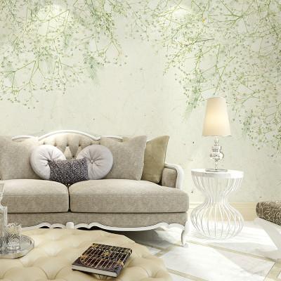 卡茵 现代简约手绘北欧清新花卉背景墙 沙发墙壁纸卧室墙纸客厅电视墙