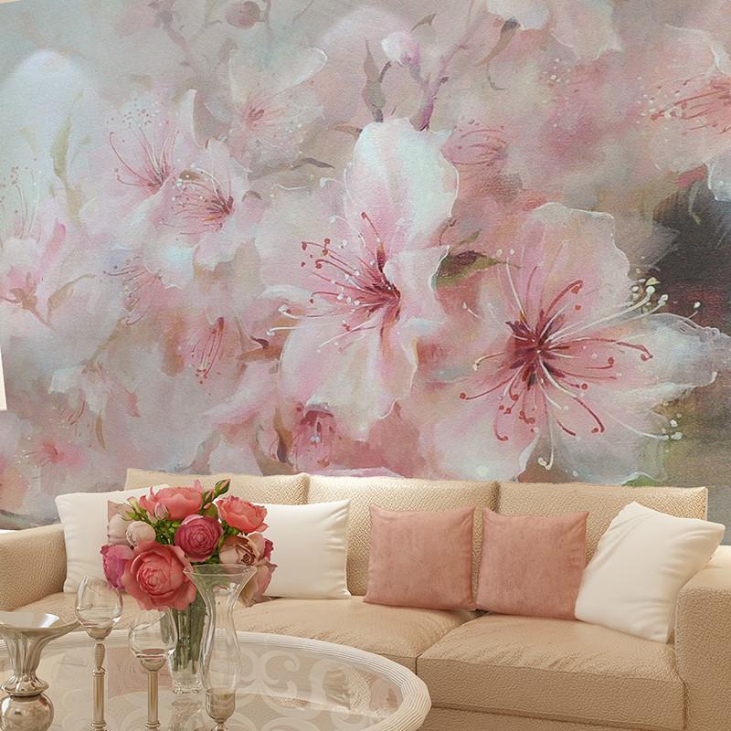 田园花卉壁纸复古大花背景墙壁画