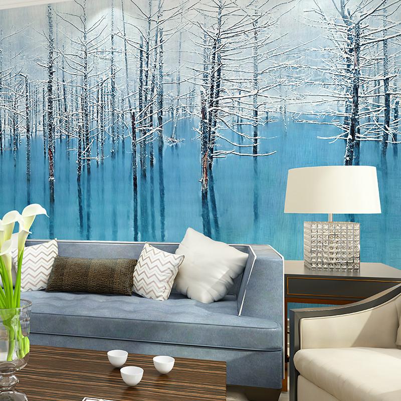 墙壁画 定制客厅卧室影视墙壁纸 沙发墙装饰画整张无缝布墙纸无缝墙布