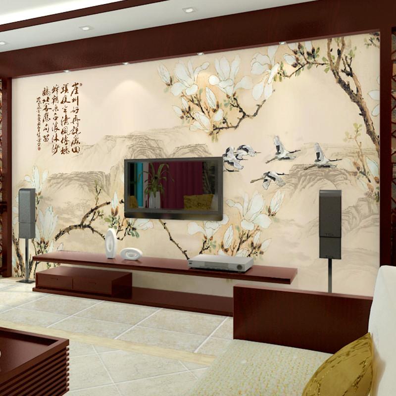 卡茵 中式简约客厅电视背景墙壁画 无缝沙发墙无纺布图片