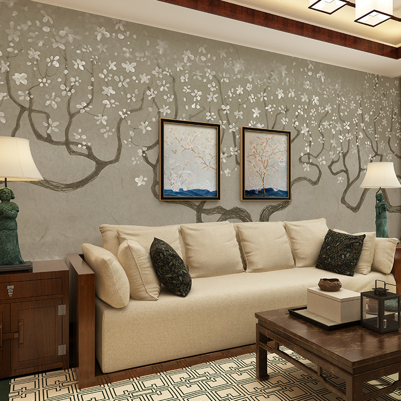 卡茵 复古素雅壁纸 手绘个性几米风格背景墙壁纸 北欧客厅卧室影视墙图片