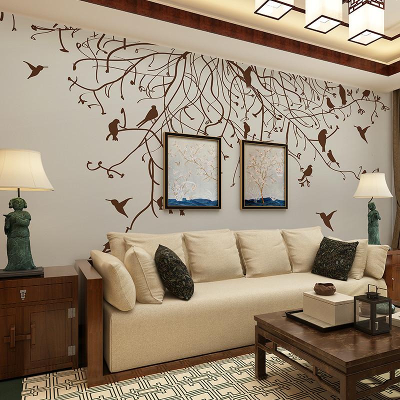 现代简约背景墙壁画 北欧美式风格客厅卧室沙发墙壁纸 影视墙装饰画定