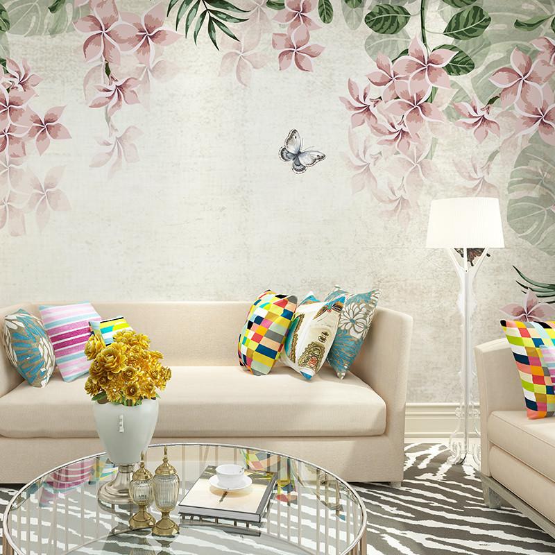 复古欧式手绘花卉背景墙壁画