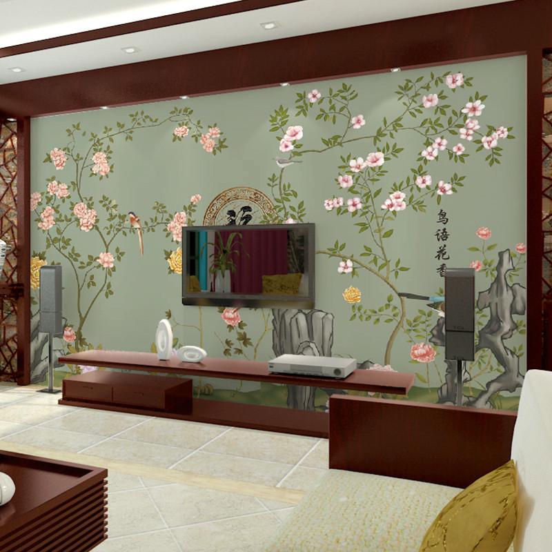 卡茵 中式花鸟电视背景墙壁纸 客厅卧室墙纸壁画 现代