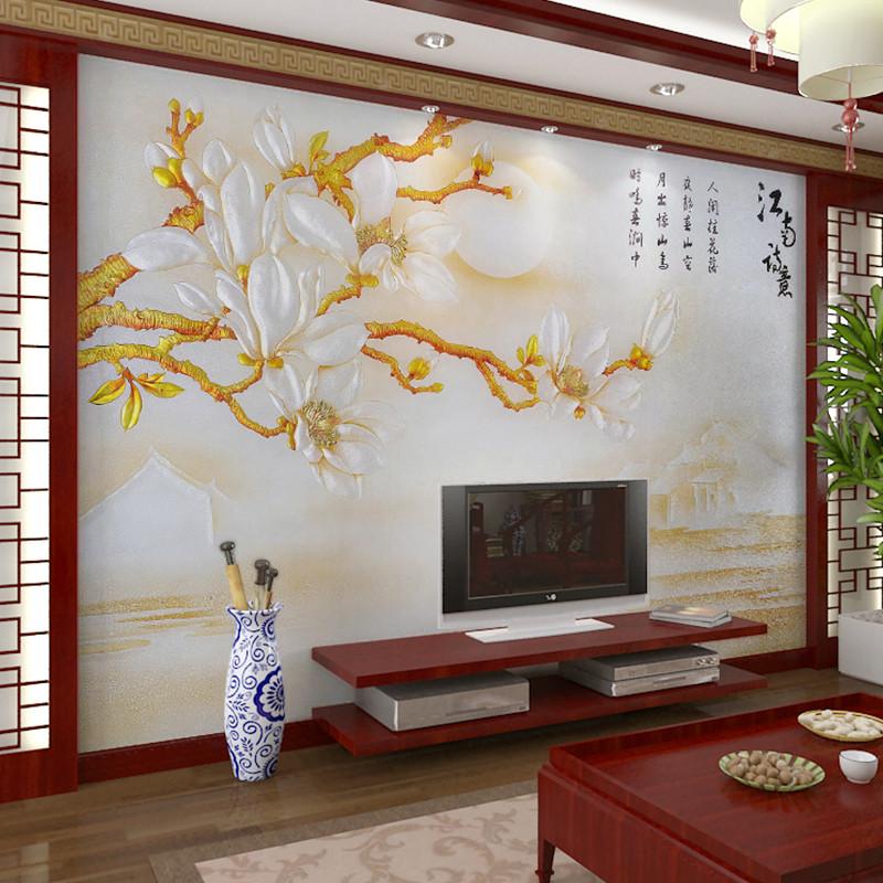 卡茵 韵彩 3d浮雕客厅电视背景墙壁画 影视墙无缝墙纸
