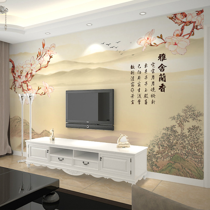卡茵 中式客厅电视背景墙壁画 简约无缝墙布 创意定制