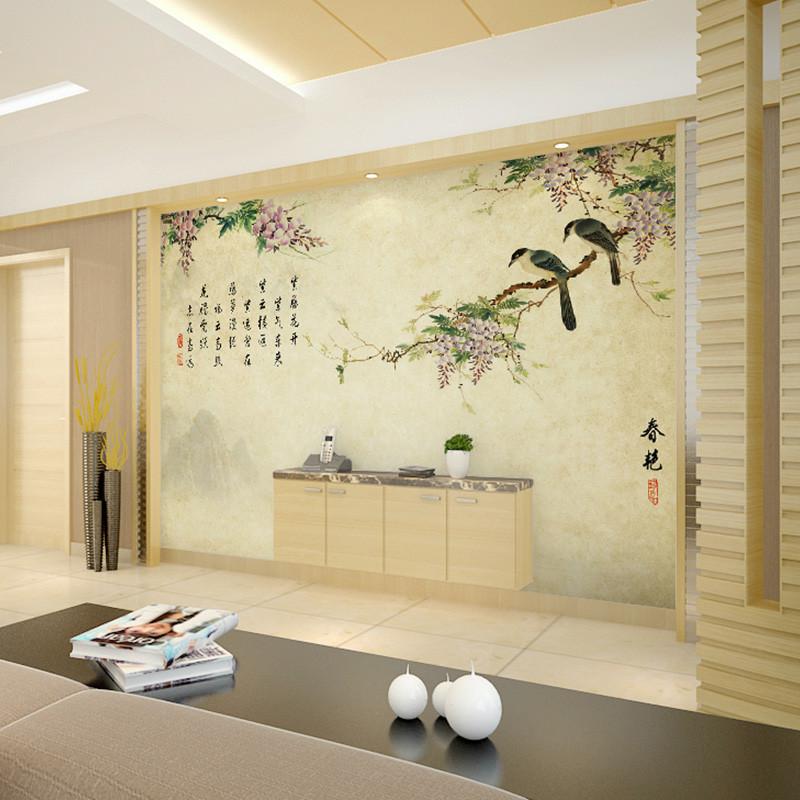 卡茵 整张无缝大型壁画中式风格电视背景墙纸卧室墙布图片