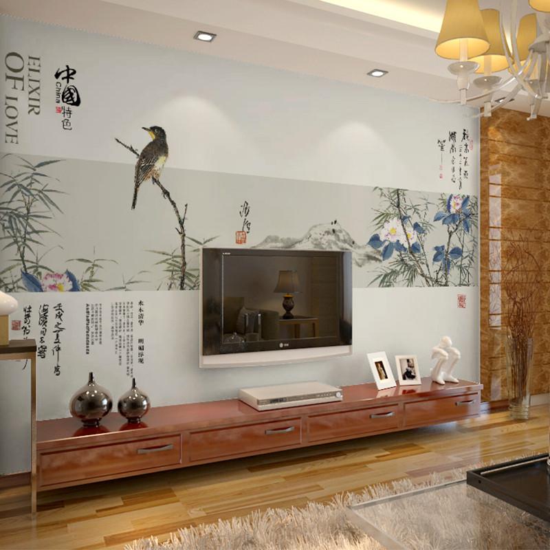 卡茵 中式简约客厅电视背景墙壁画 唯美影视墙墙纸可定制壁纸