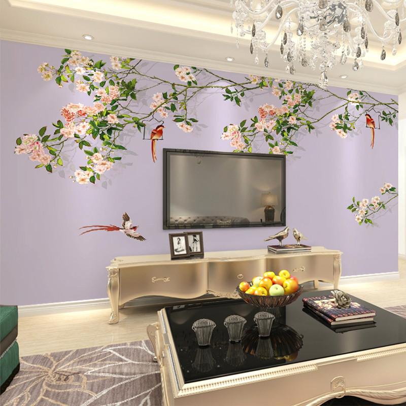 卡茵 现代中式古典花鸟 整张无缝客厅电视背景墙墙纸壁画 卧室墙布 影