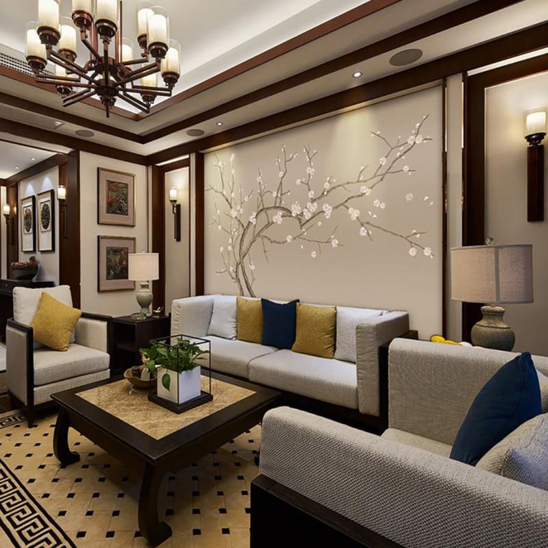 卡茵 中国风书房壁画中式客厅电视背景墙壁纸工笔桃花书房墙纸手绘