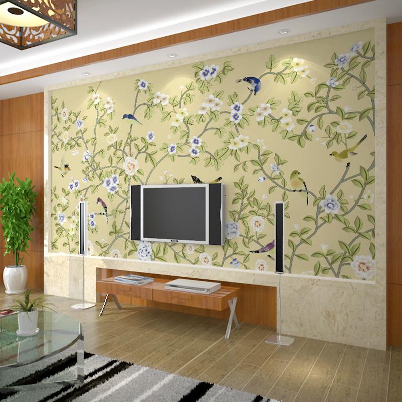 卡茵客厅手绘花鸟电视背景墙壁画沙发背景墙纸书房壁纸影视墙墙布