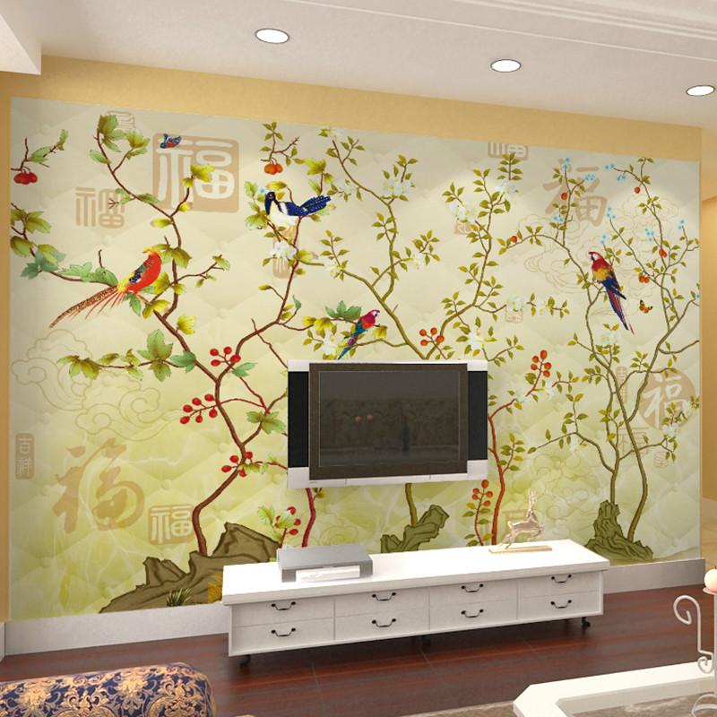 卡茵中式古典客厅电视背景墙壁纸手绘花鸟壁布沙发背景墙墙纸无缝壁画