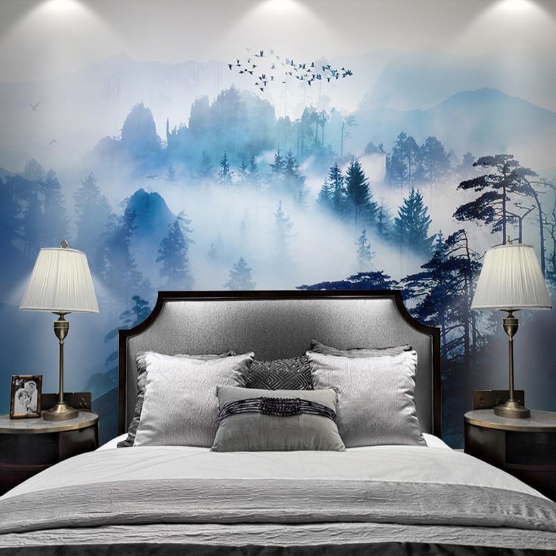 卡茵 中式壁画水墨禅意电视背景墙壁纸山水书房墙纸松林沙发影视墙