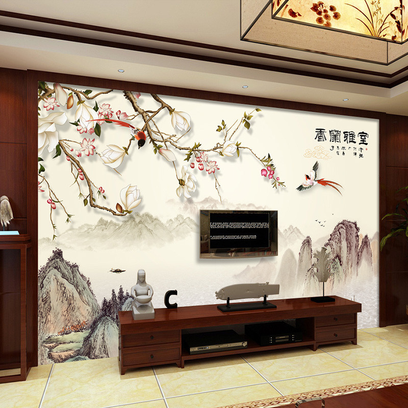室雅兰香书房壁画中式山水电视背景墙壁纸办公室墙纸影视墙墙布图片
