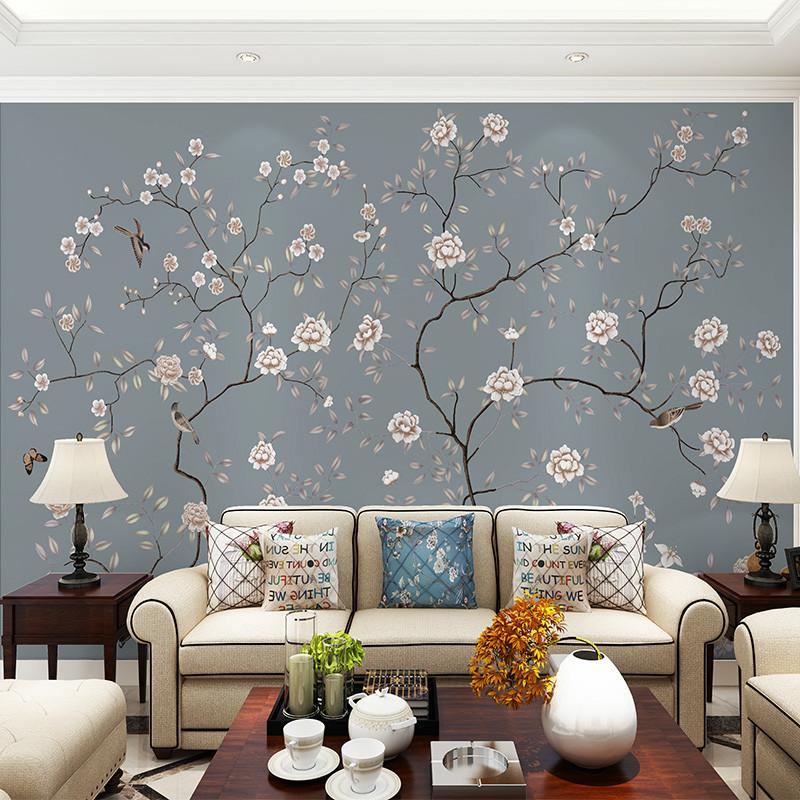 中式背景墙壁画手绘花鸟沙发背景墙壁纸工笔花书房墙纸影视墙墙布