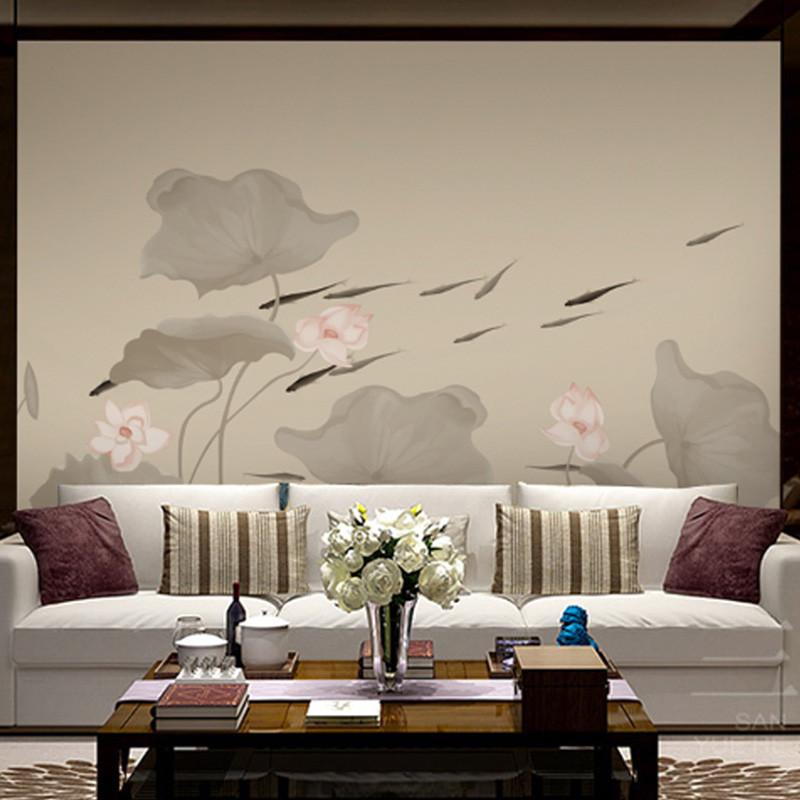 手绘客厅电视背景墙壁画中式无缝壁纸荷花书房墙纸定制办公室墙布