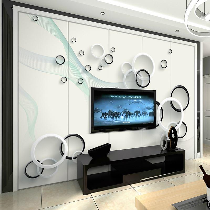 3d立体圆圈简约时尚电视背景墙壁纸现代客厅壁画无纺布卧室墙纸图片