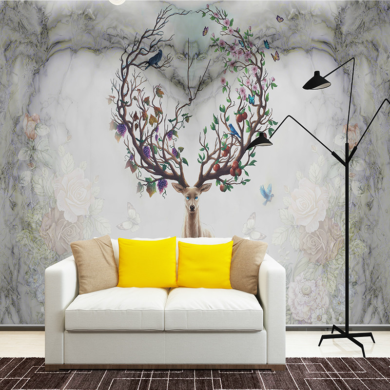 北欧复古麋鹿心形电视背景墙壁画简约现代客厅壁纸手绘卧室墙纸