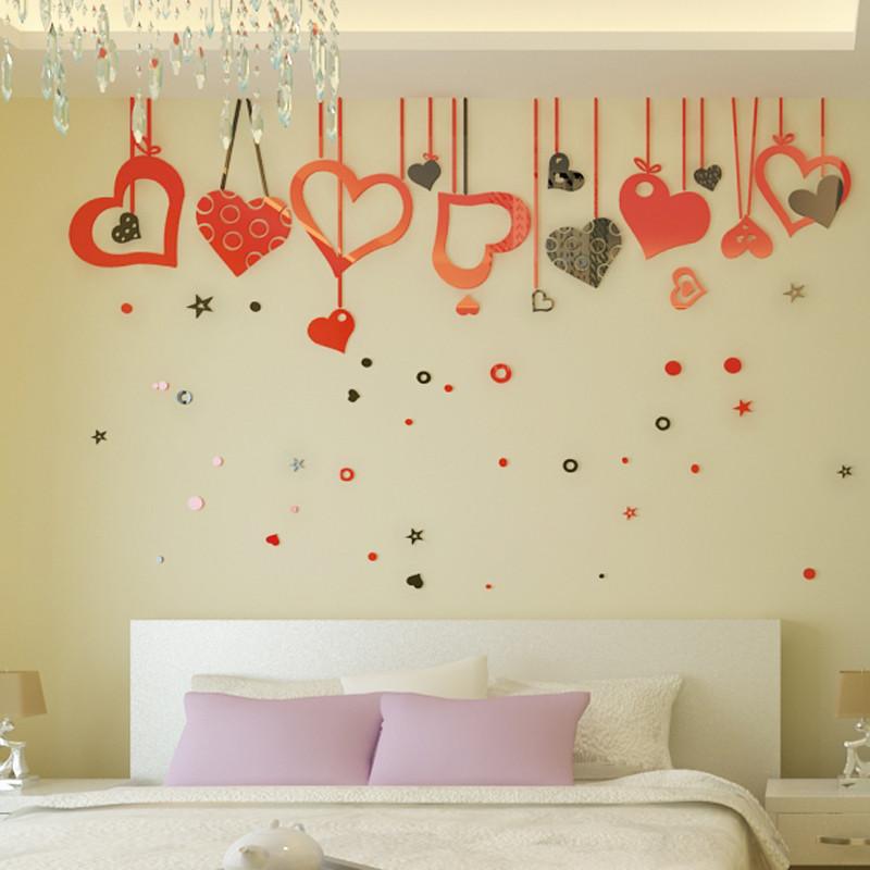 客電視背景墻裝飾 臥室床頭影視墻裝飾貼 婚房布置裝飾品-黑色 中國紅