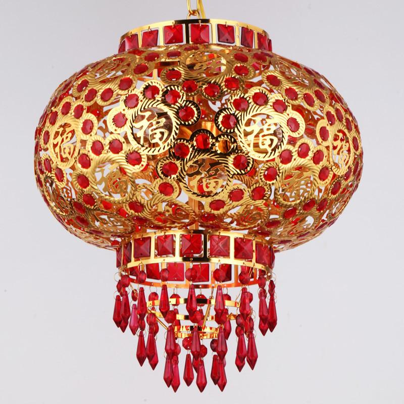 灯笼 吊灯 金属发光灯笼 旋转led福字大红灯笼 新年春节中式走廊阳台图片