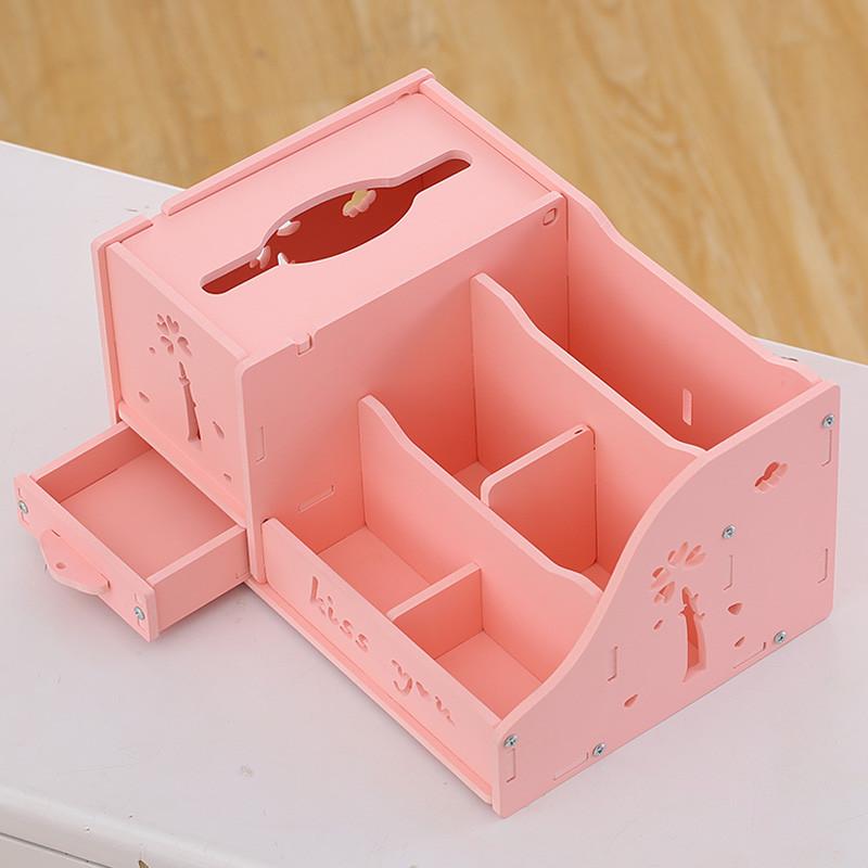 抽纸盒多功能纸巾盒家用客厅茶几遥控器收纳盒创意餐巾纸盒-粉色