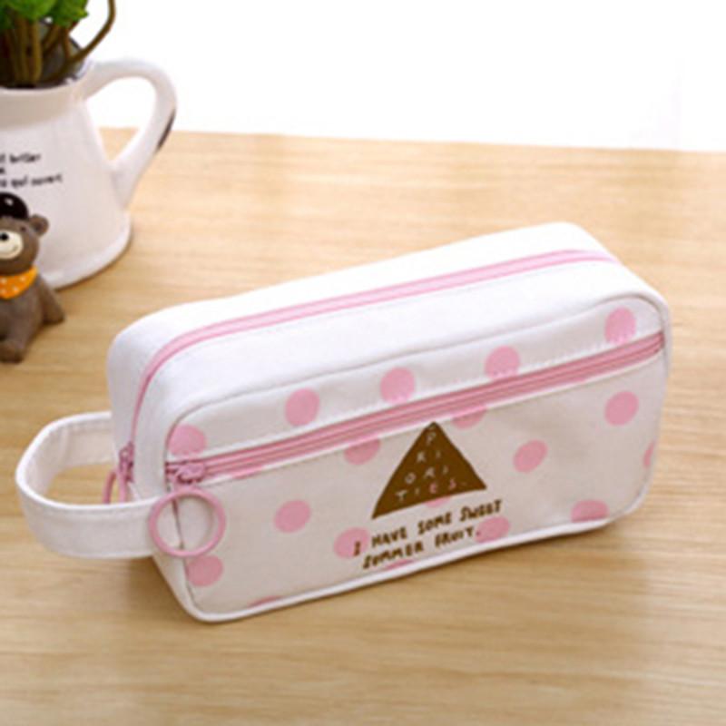 简约小清新笔袋女生粉色文具袋大容量可爱帆布铅笔盒创意文具盒
