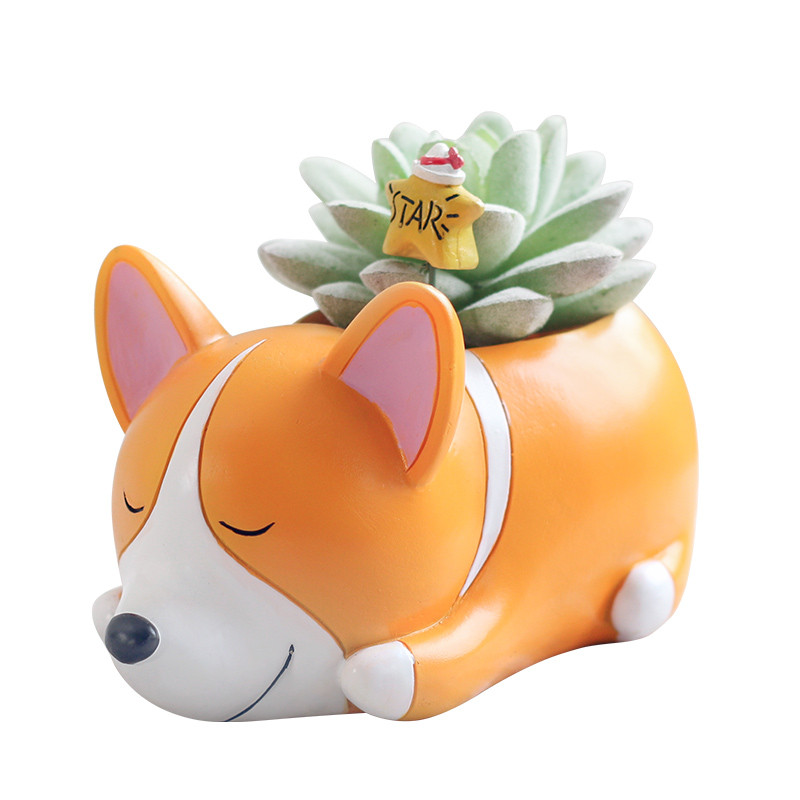 微景观摆件萌宠小狗创意多肉花盆小动物花盆可爱卡通花器-睡宠花盆-哈