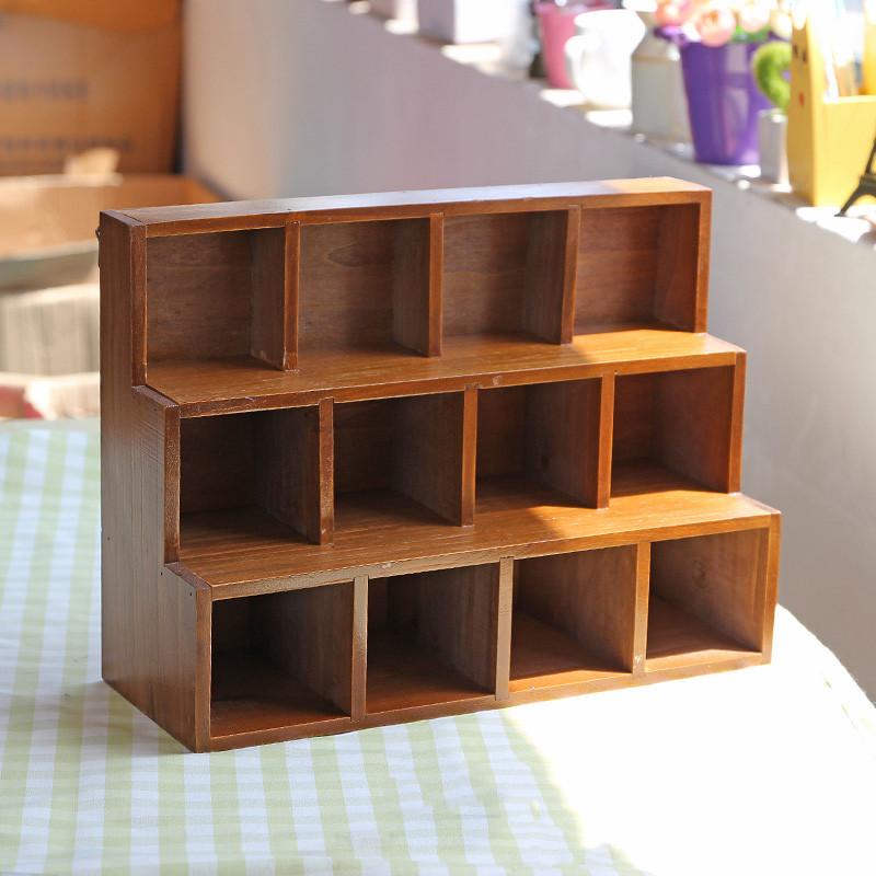做旧木质桌面收纳柜创意阶梯12格展示柜家居杂物小号储物收纳盒图片