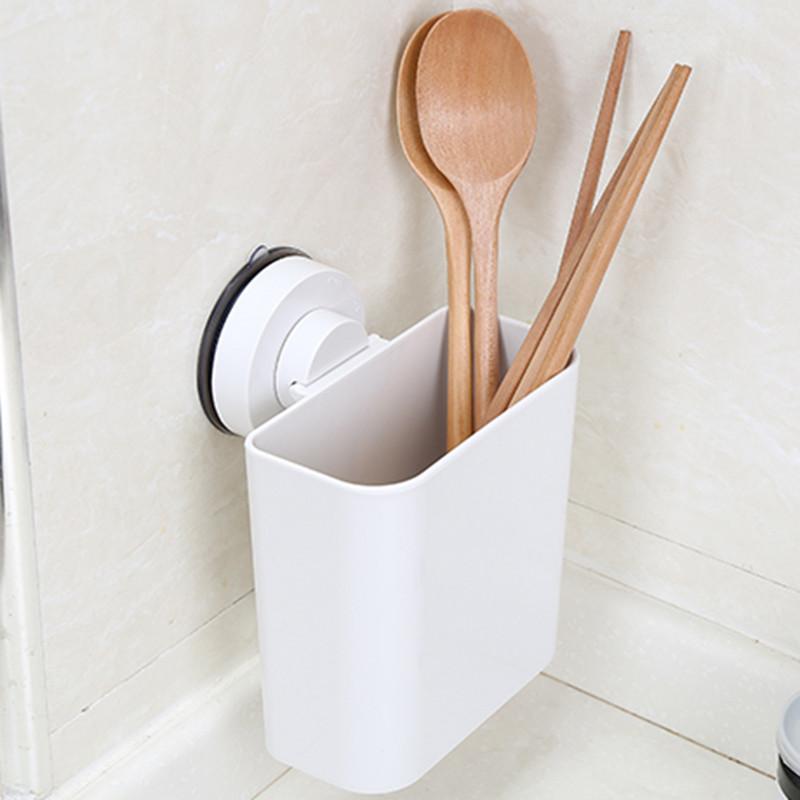家用筷子筒创意吸盘沥水筷子筒挂厨房餐具置物架收纳筷子笼