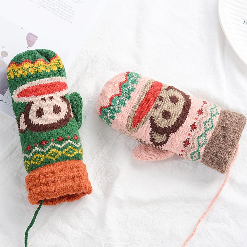 可爱卡通手套女冬季保暖手套学生男加绒挂脖针织毛线全包指手套-蓝色