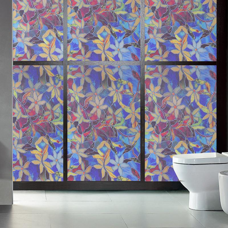 透光不透明磨砂贴膜窗户玻璃静电贴纸卫生间浴室移门玻璃贴-花卉75cm