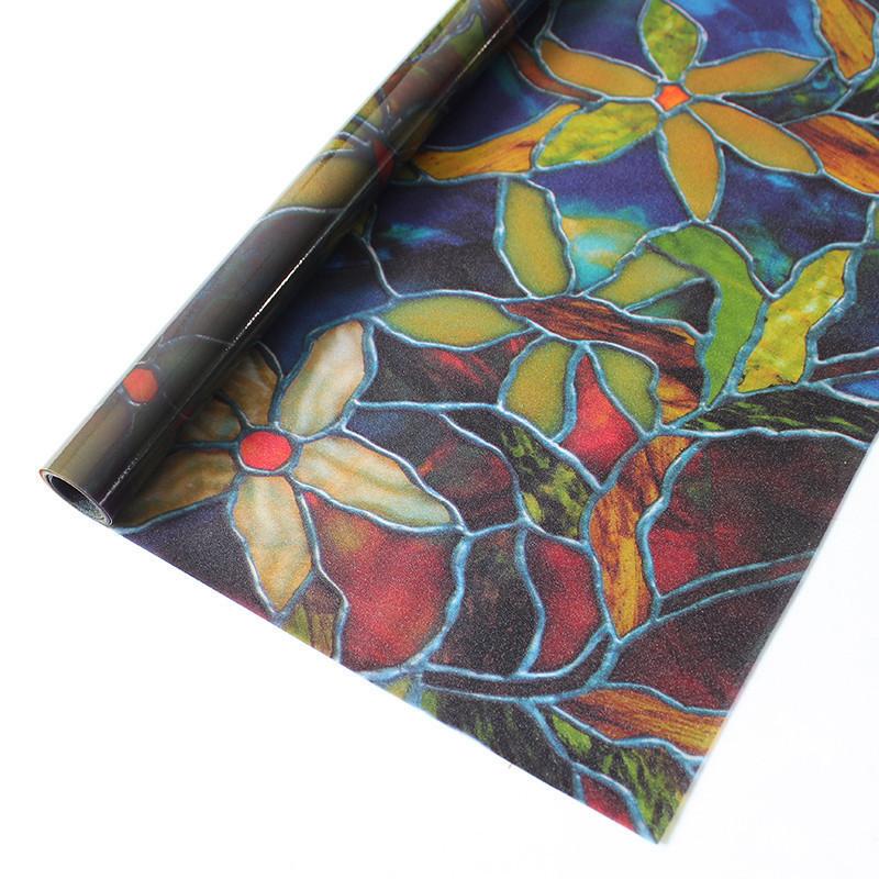 透光不透明磨砂贴膜窗户玻璃静电贴纸卫生间浴室移门玻璃贴-花卉90cm