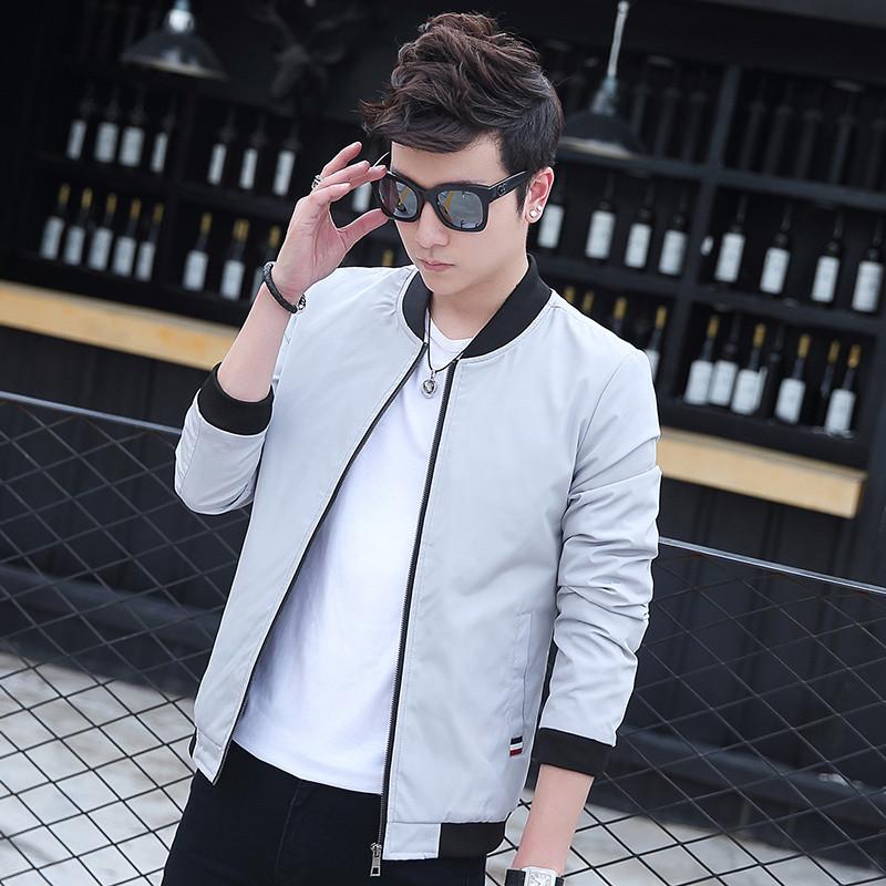 夾克男士休閑外套秋季薄款夾克衫男裝春秋裝棒球服韓版修身青年衣服潮圖片