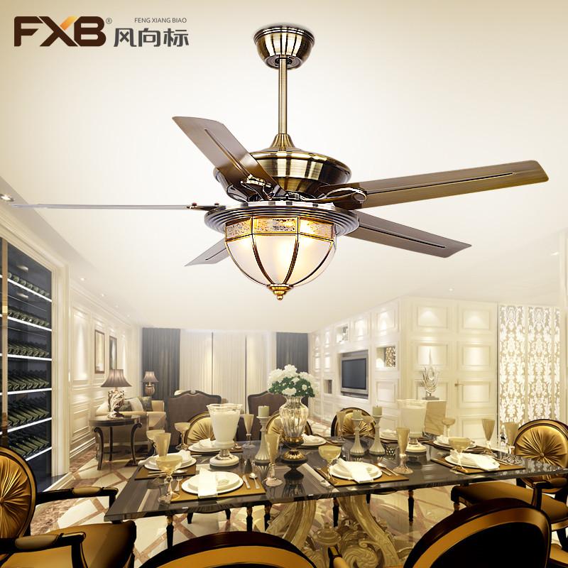 风向标吊扇灯欧式仿古风扇灯简约现代铁叶餐厅吊灯扇客厅铜灯罩