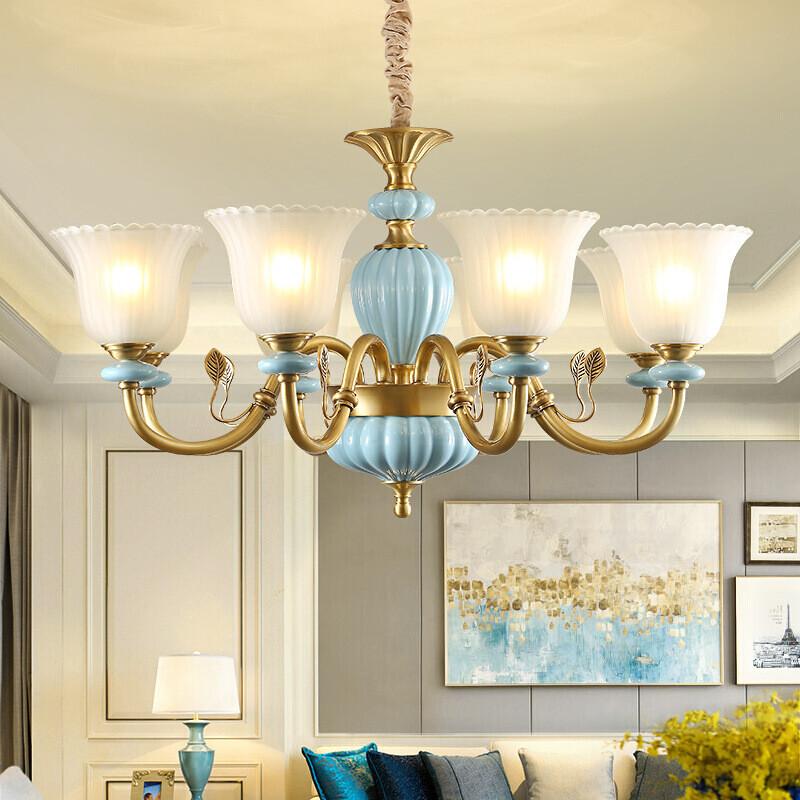 澳松 歐式吊燈全銅客廳燈美式臥室燈現代簡約創意水晶