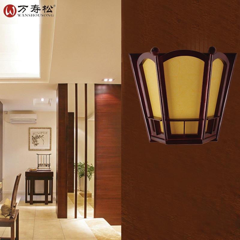 现代中式壁灯 卧室床头灯实木雕花灯客厅过道壁灯 走廊木质壁灯