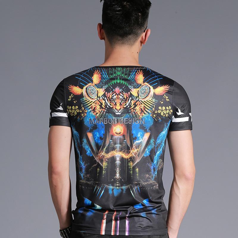 魅言魅语2017莱佰叶夏季新款中国风动物印花短袖青年修身圆领个性t恤