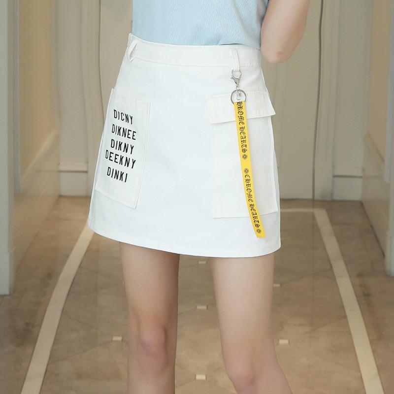 魅言魅语2017牛仔半身裙包裙2017夏季绣花高腰半身裙短裙女夏a字裙夏