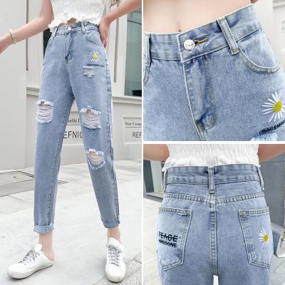 與牧雛菊牛仔褲女2020夏季新款韓版寬松破洞高腰顯瘦哈倫褲80990