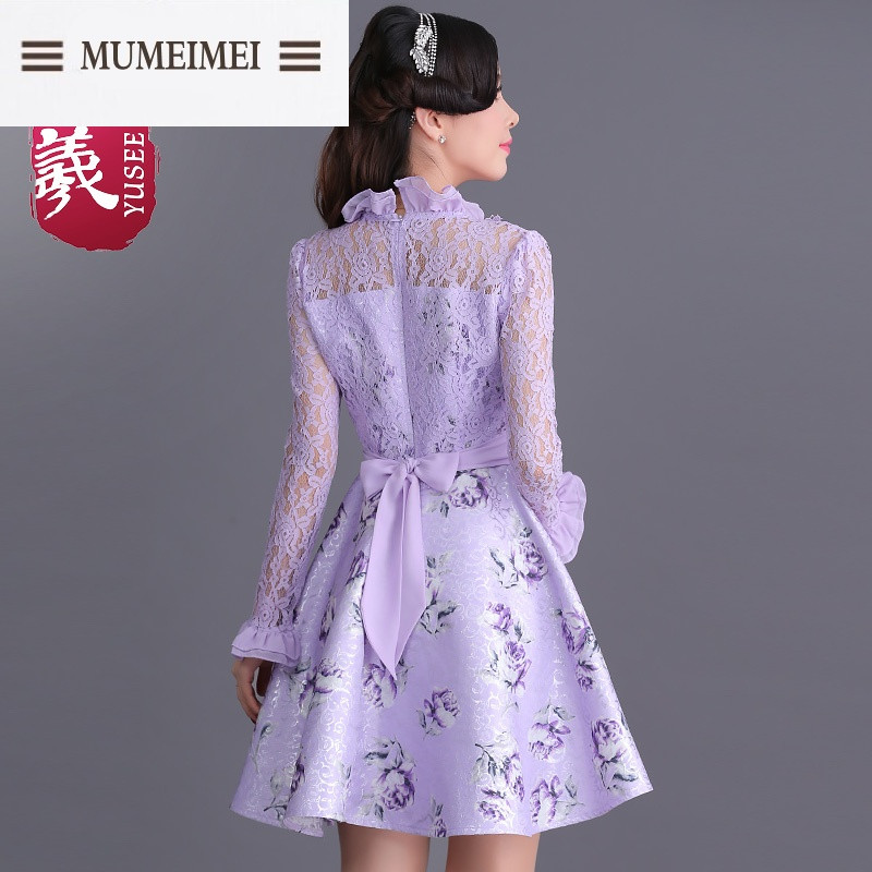 假两件印花蕾丝长袖连衣裙