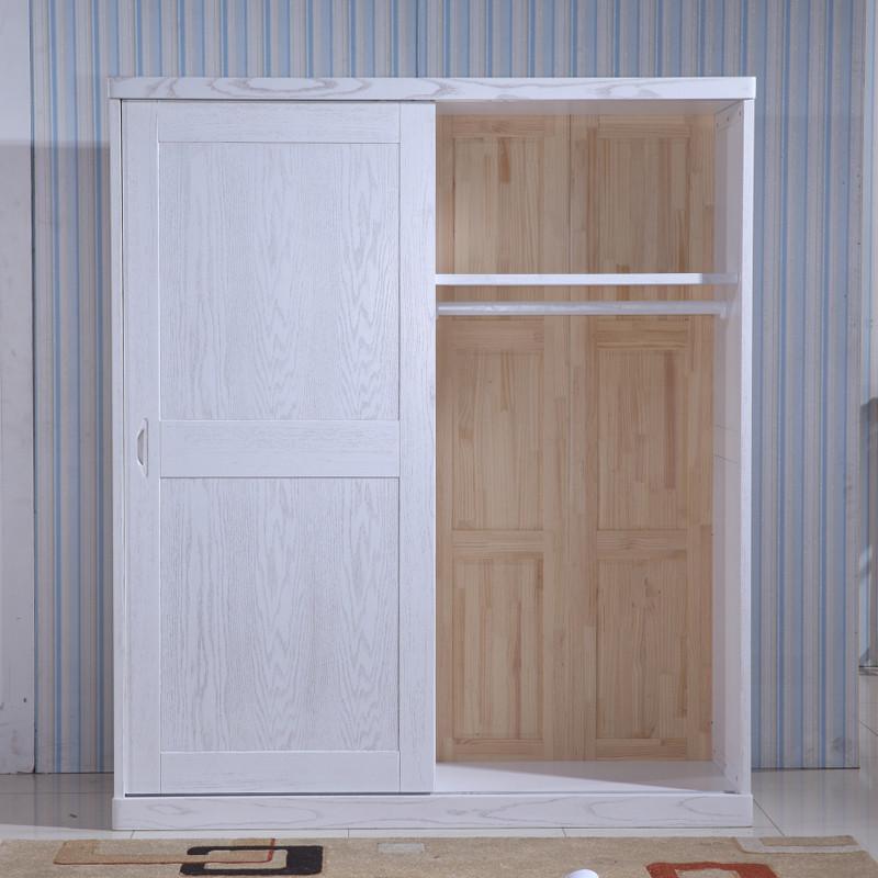 纽菲乐 全实木移门衣柜 榆木白色开放漆推拉门衣柜 简约现代中式整体