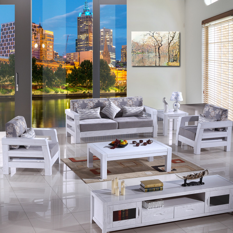 纽菲乐 实木沙发 榆木厚重款沙发 白色开放漆木架沙发布艺沙发组合 简