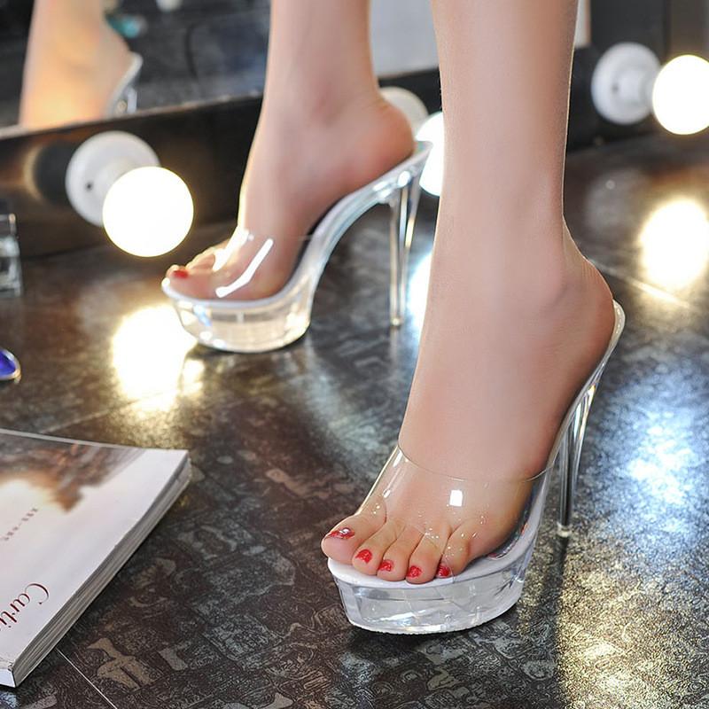2017夏高跟鞋14cm高细跟透明水晶鞋婚鞋公主防水台凉拖鞋厚底鞋