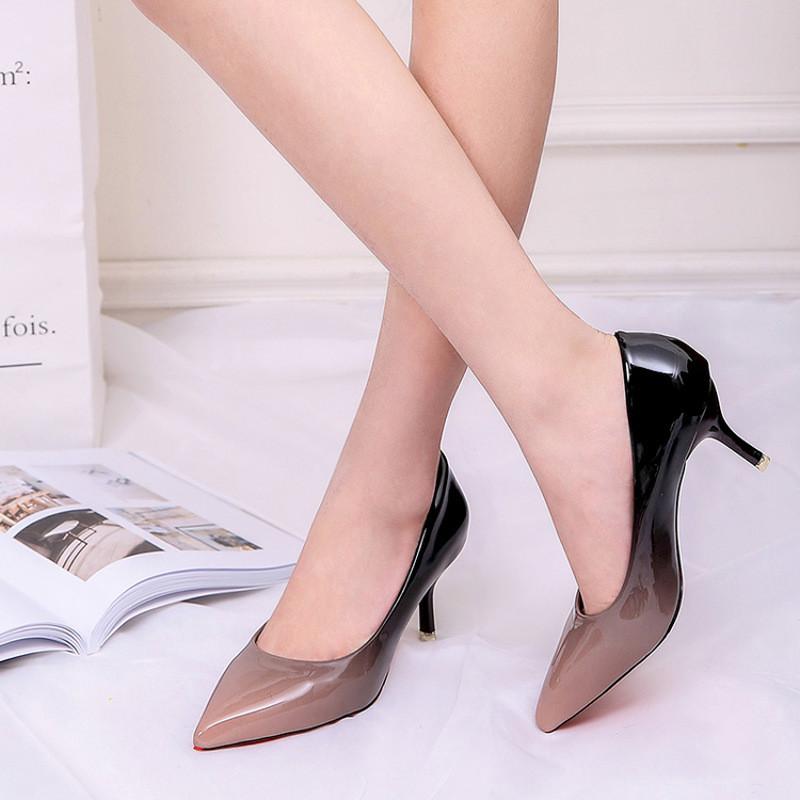 2017春季新款欧美尖头新款浅口女鞋细跟高跟鞋性感漆皮单鞋女鞋子