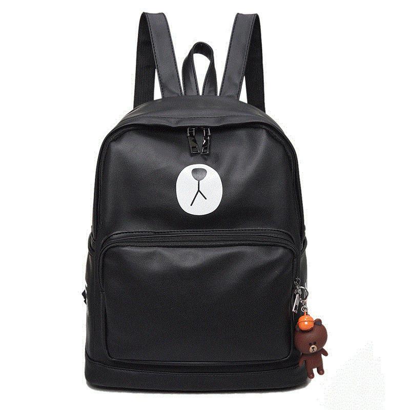 韩版可爱布朗熊包pu皮双肩包女背包学院风百搭学生书包休闲旅行包