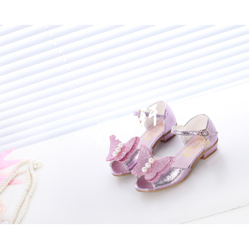 2017韩版女童蝴蝶公主小高跟鞋单鞋冰雪奇缘