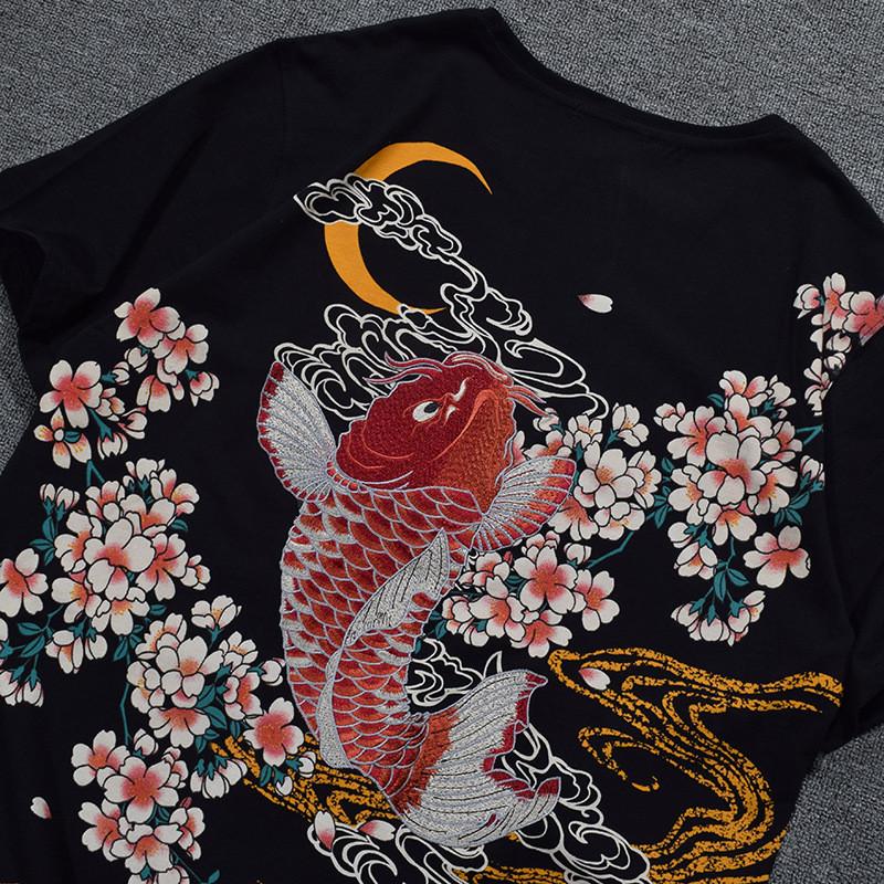 卓胜基日系浮世绘刺绣鲤鱼跳水短袖t恤潮牌樱花短袖体