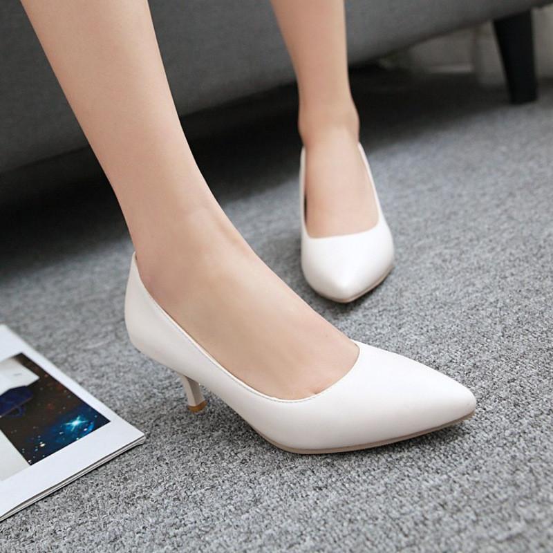 高跟鞋女2018春新款潮四季ol尖头5厘米细跟浅口单鞋工作中跟皮鞋