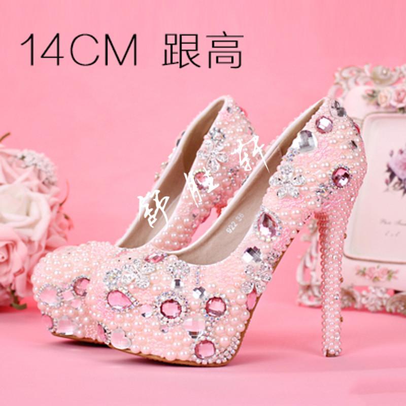 新娘鞋_粉色珍珠花朵新娘鞋超高跟防水台女单鞋细跟公主圆头水晶婚鞋春款